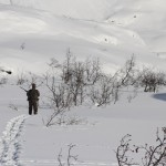 Walking on snowshoes chasing ptarmigan