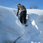 "I had to cut steps to get up on the snow. That is what 400"" of snow looks like!"