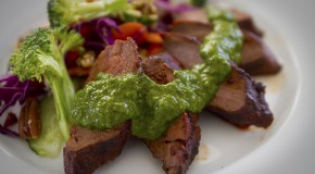 Char-Grilled Deer Tenderlion with a Smoky Chipotle Rub and Three-Herb Chimichurri