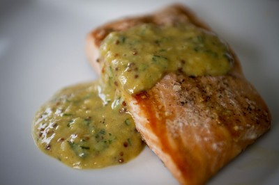 Grilled Salmon served with a Tarragon Mustard Sauce